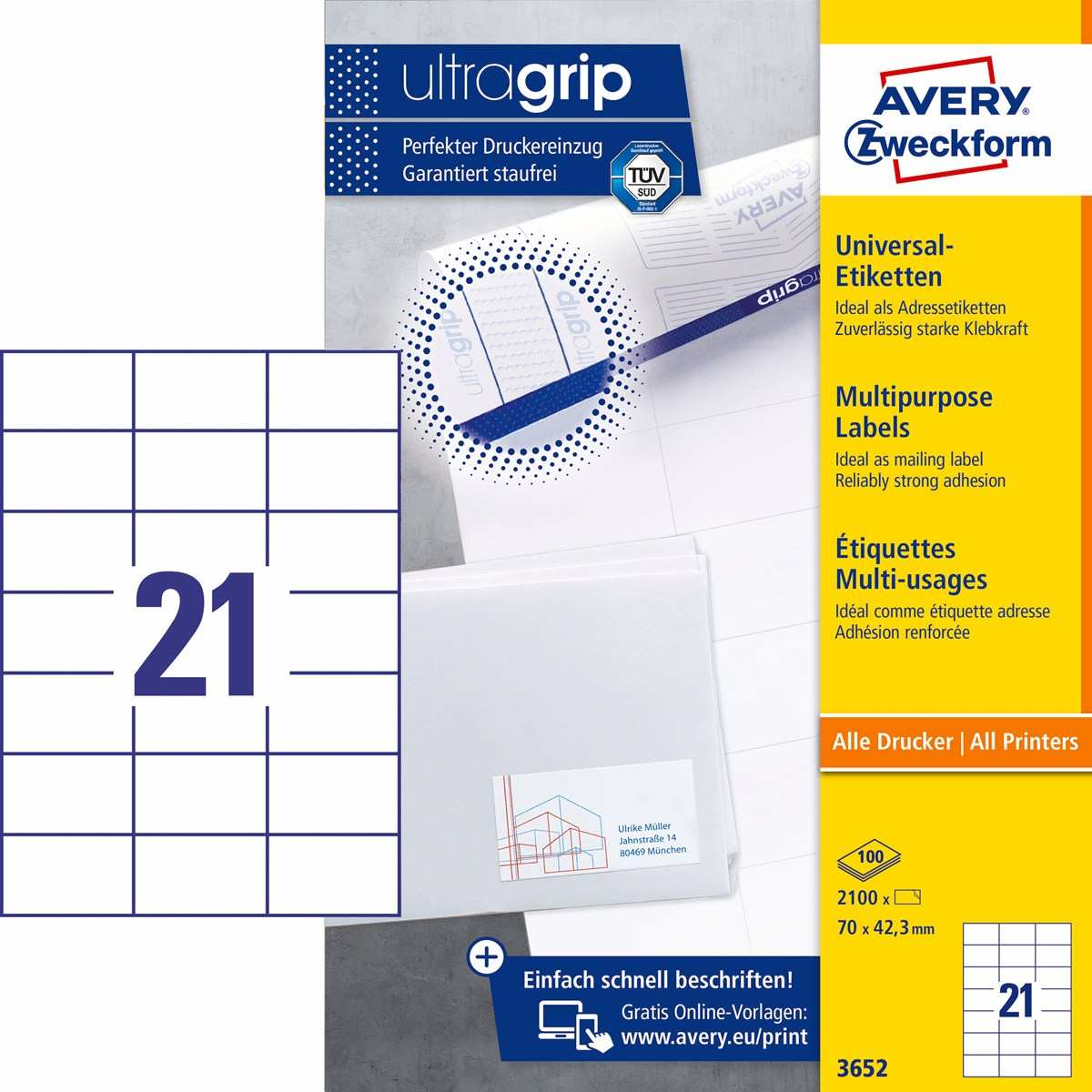 Avery Zweckform 3652 Universal Etiketten 70 X 42 3 Mm Weiss