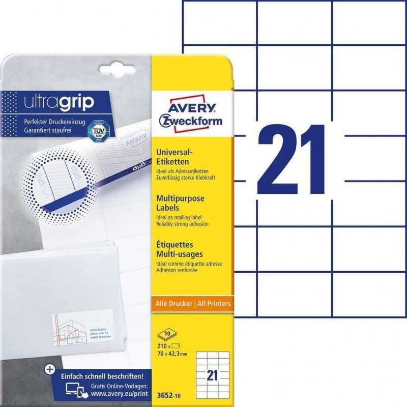 Label Set Universal For Printing Avery Zweckform 3652 10 70mm X