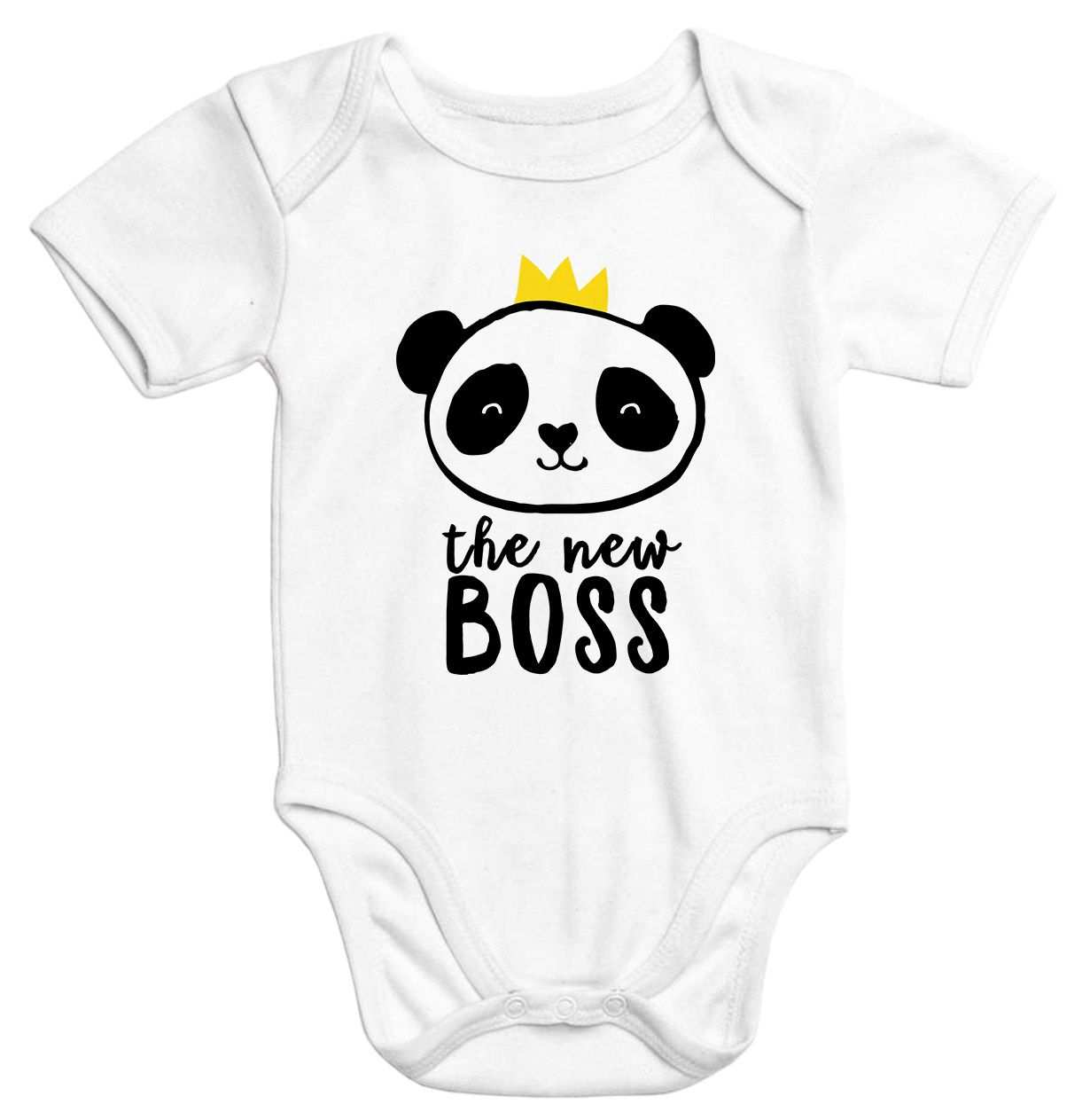 Baby Body Mit Aufdruck The New Boss Panda Mit Krone Bio Baumwolle