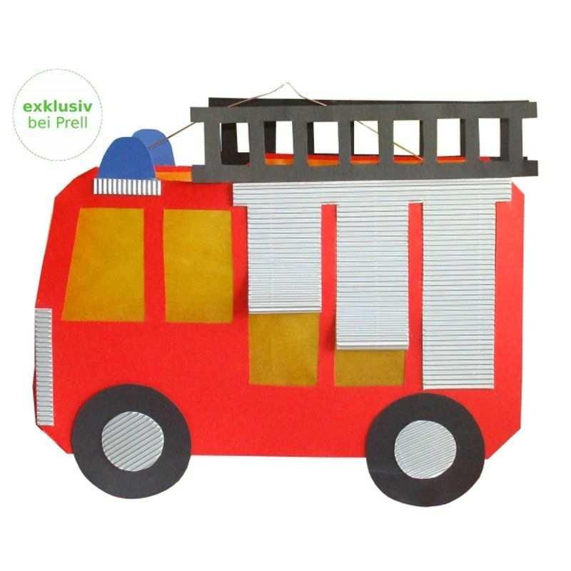 Laternen Bastelset Feuerwehrauto 4 Stuck Laternen Basteln