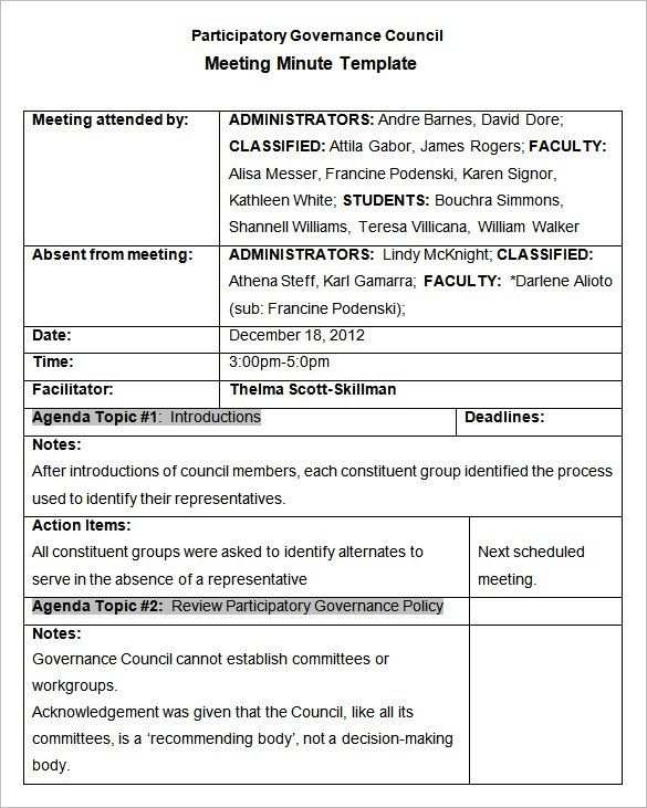 24 Meeting Minutes Templates Pdf Doc Meeting Agenda Template