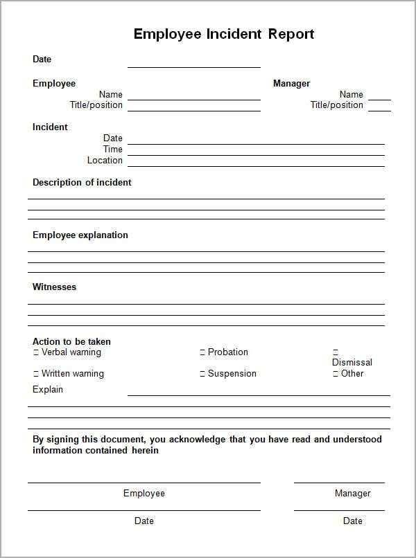 10 Incident Report Templates Incident Report Form Incident