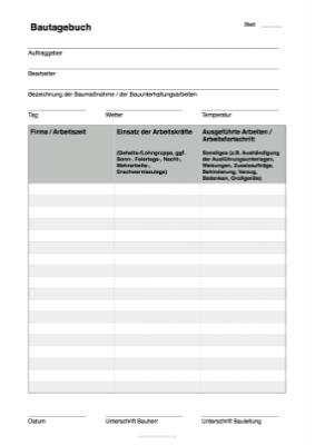 Bautagebuch Vorlage Als Pdf Datei Zum Ausdrucken