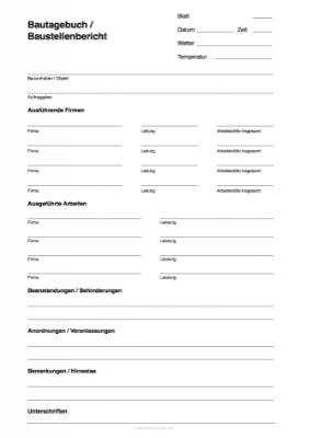 Bautagebuch Baustellenbericht Als Word Vorlage Hier Herunterladen