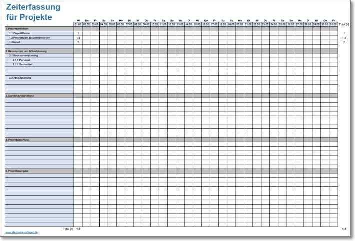 Zeiterfassung Fur Projekte Zeiterfassung Excel Vorlage Vorlagen