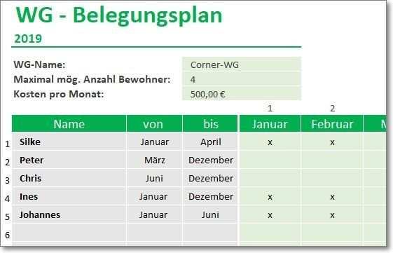 Wg Belegungsplan Fur Excel Planer Excel Vorlage Vorlagen