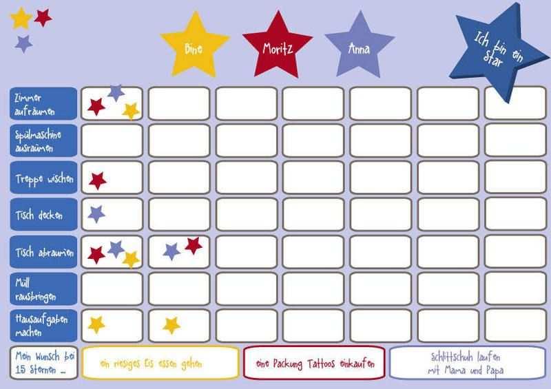 Ich Bin Ein Star Belohnungstafel Fur 3 Kinder Belohnungstafel