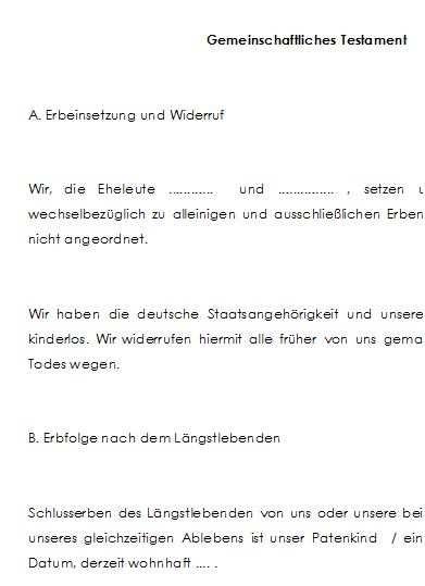 Berliner Testament Einheitslosung Mit Patenkind Als Schlusserbe