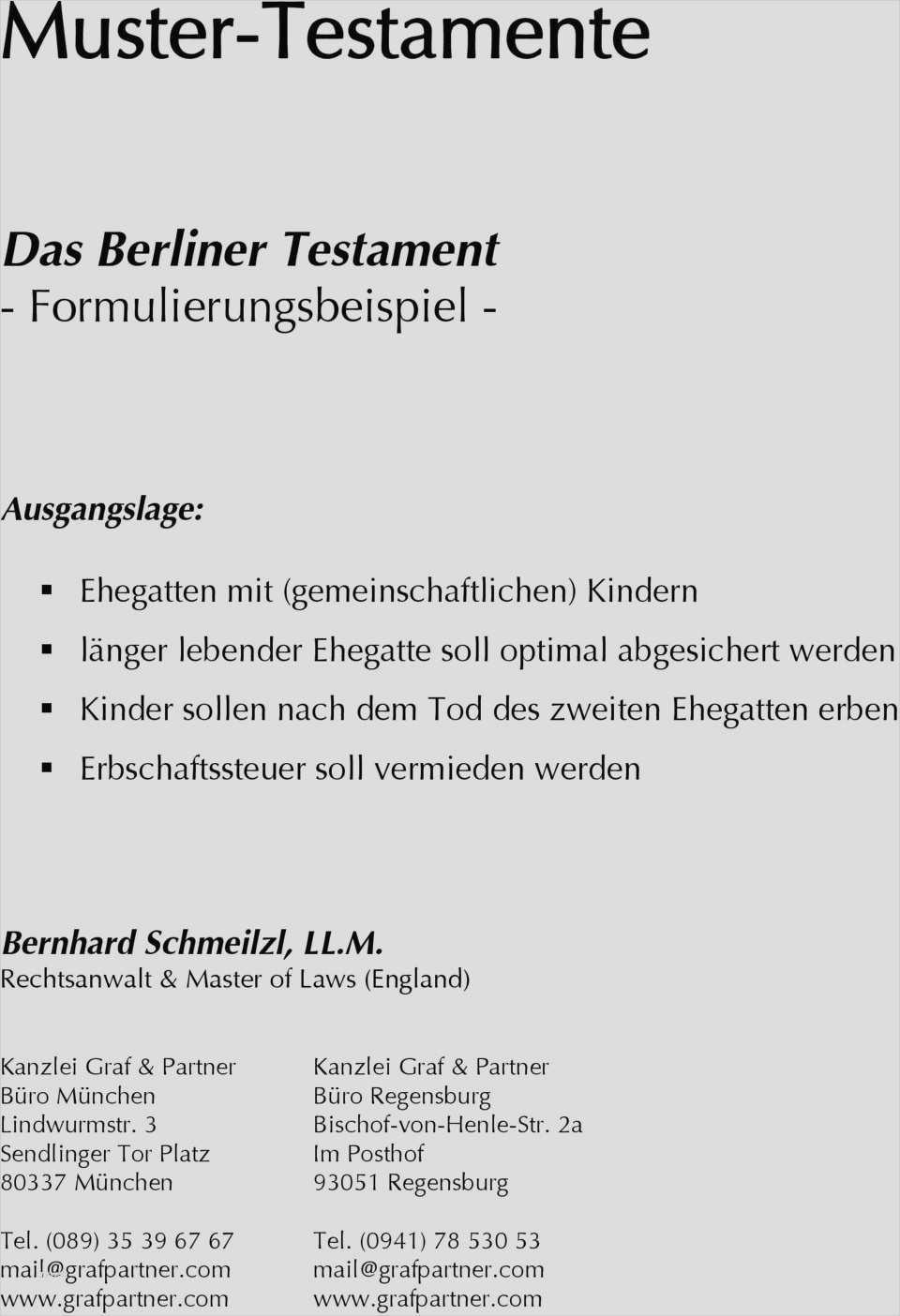 Berliner Testament Vorlage Kostenlos 18 Angenehm Diese Konnen