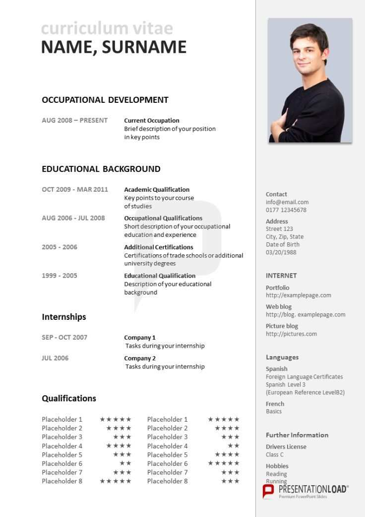 Powerpoint Cv Use Our Traditional Powerpoint Cv Template In Order