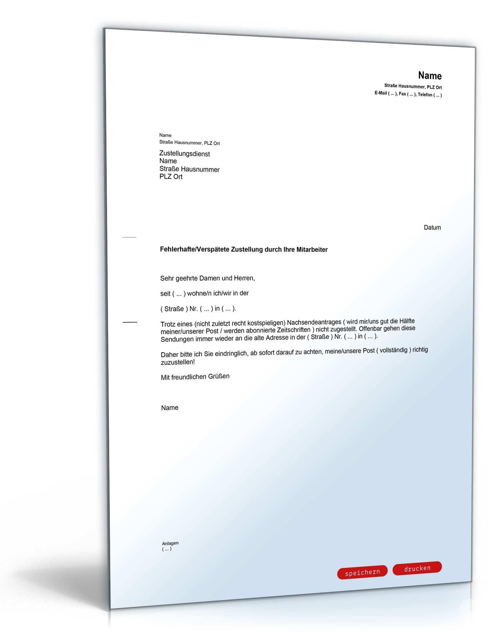 Beschwerde Fehlerhafte Postzustellung Muster Vorlage Zum Download