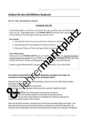 B2 Schriftlicher Ausdruck 4 Briefe Bitte Um Informationen