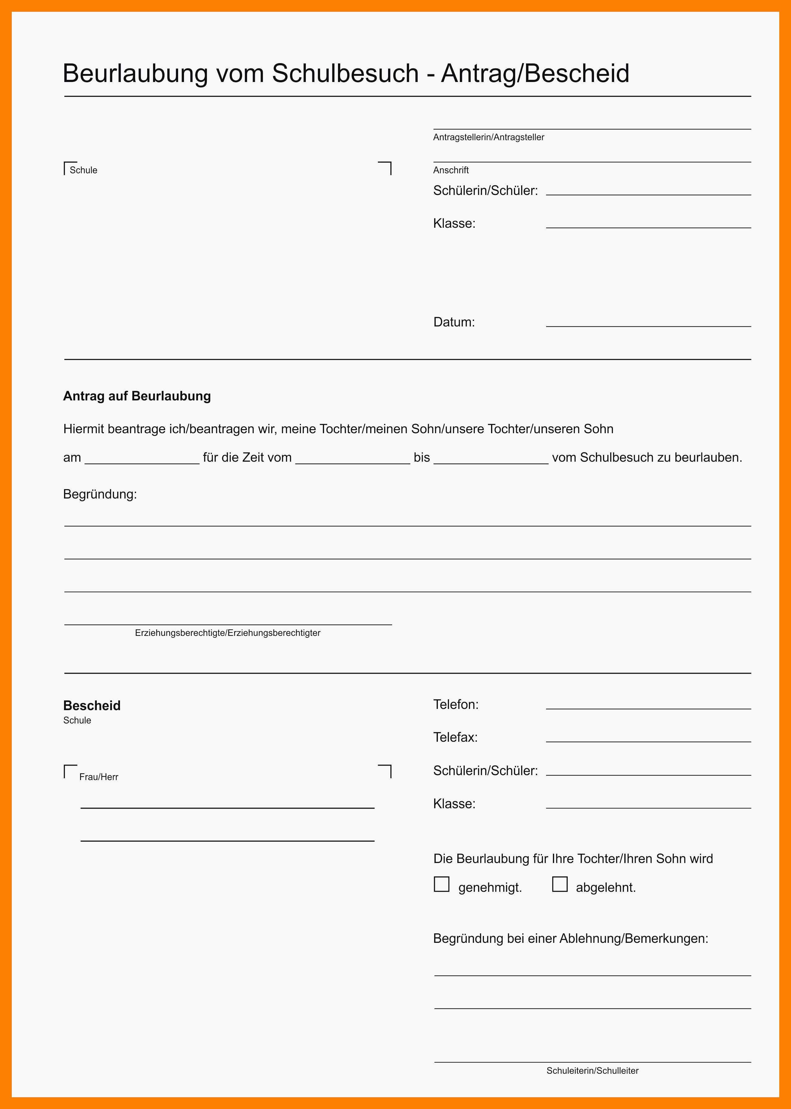 Schulbefreiung Wegen Urlaub Musterbrief Antrag Auf