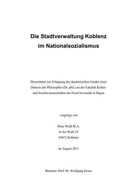 Die Stadtverwaltung Koblenz Im Nationalsozialismus