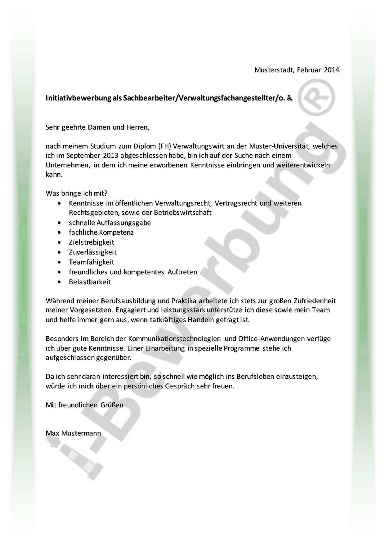 Muster Komplette Initiativbewerbung Als Verwaltungskraft