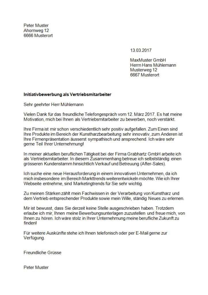 Initiativbewerbung Muster Vorlage Schweiz Bewerbung Bewerbung