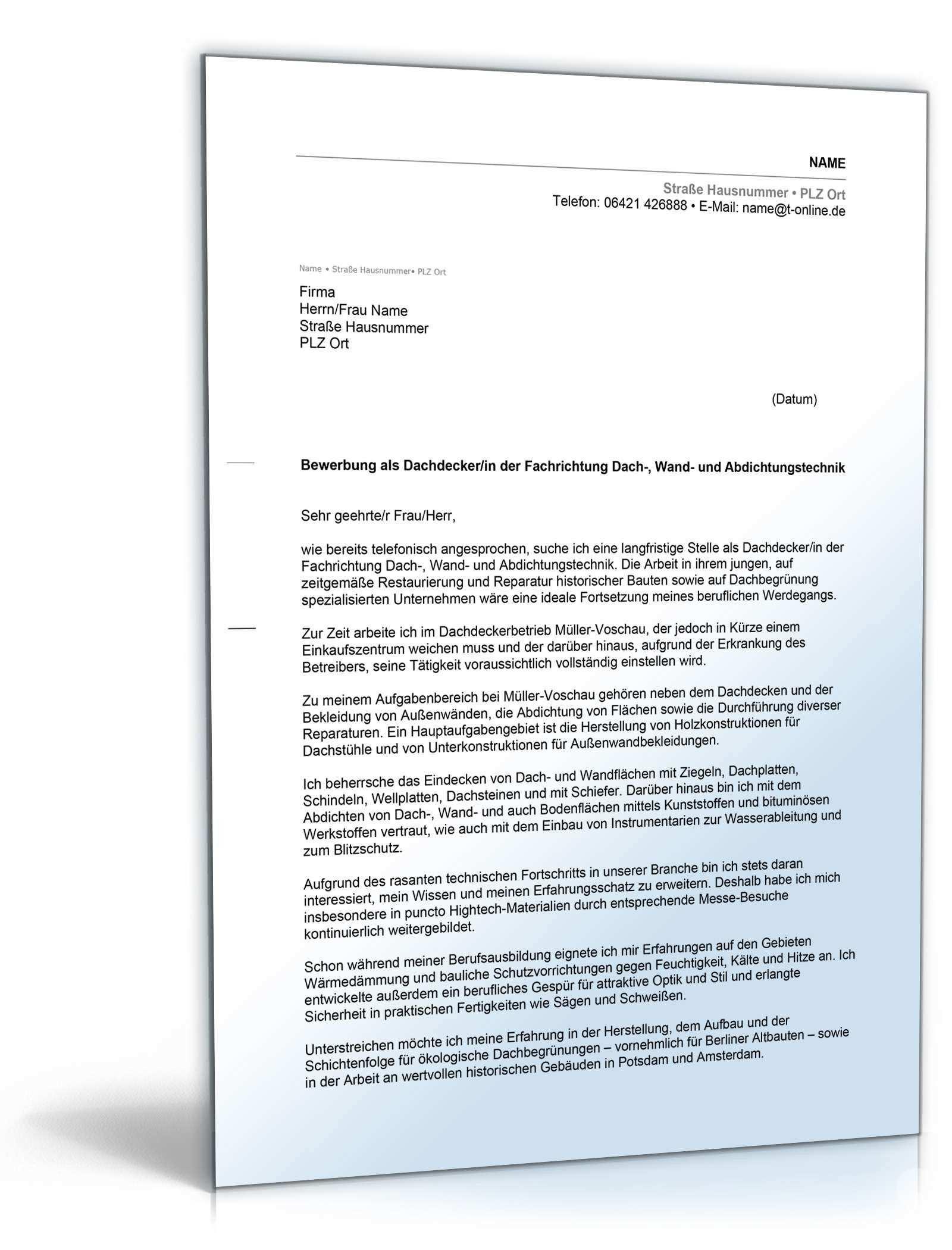 Einzigartig Bewerbung Dachdecker Briefprobe Briefformat Briefvorlage Lebenslauf Vorlagen Lebenslauf Bewerbung