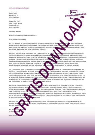 Bewerbungsschreiben Fitnesstrainer Muster Vorlagen