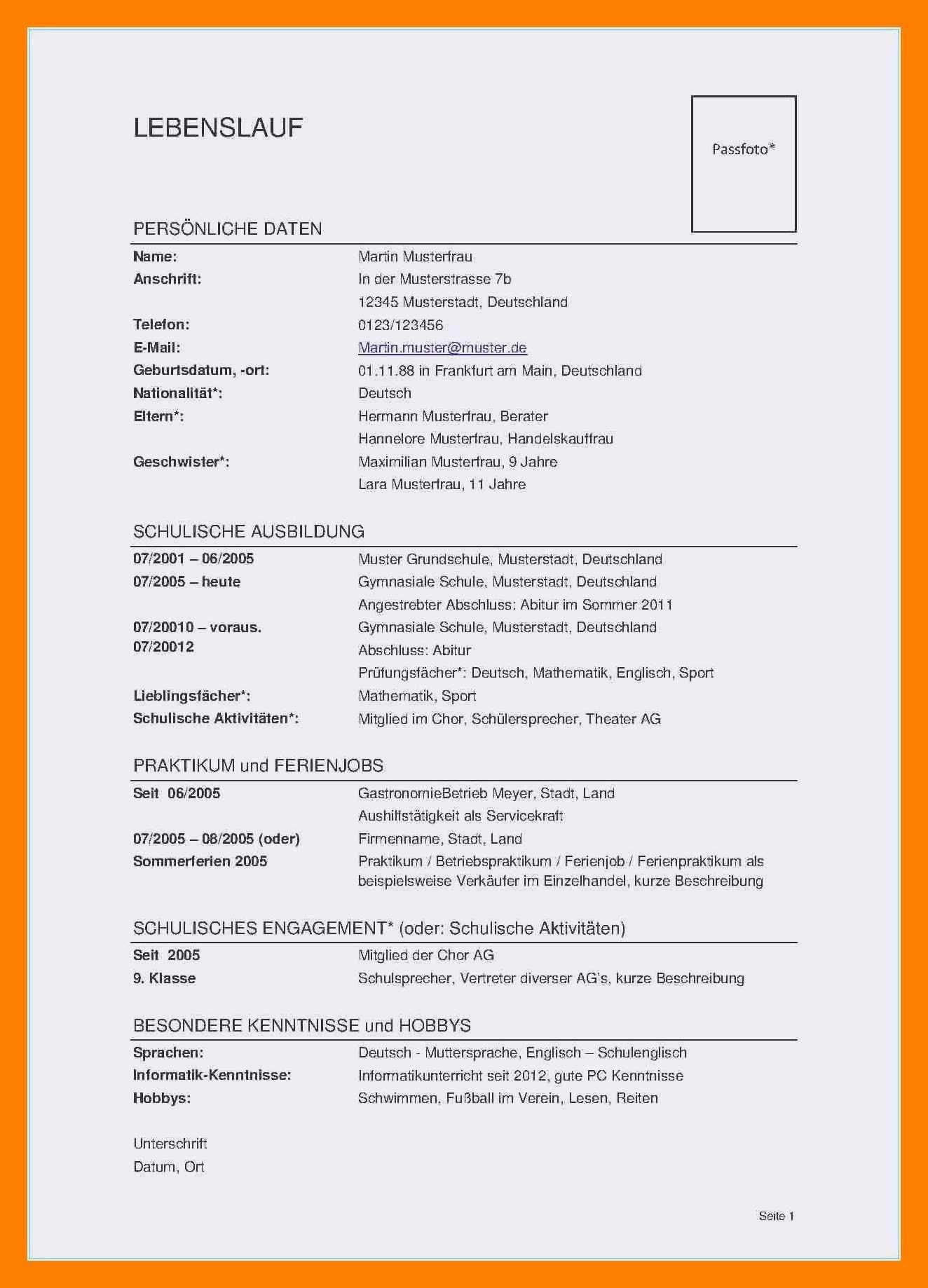 Frisch Lebenslauf Informatiker Muster Briefprobe Briefformat