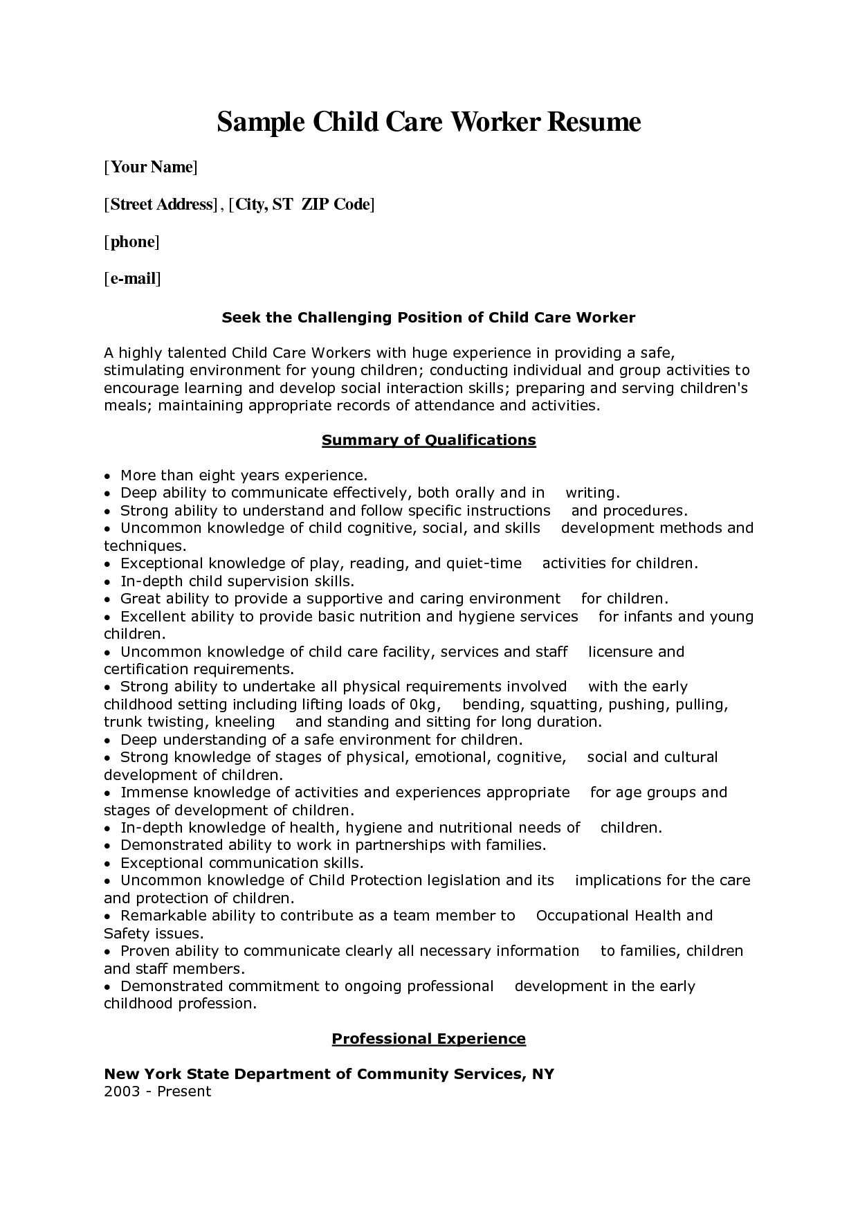 Child Care Worker Cover Letter Sample Ausbildung