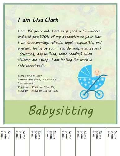 Download Free Template Babysitting Flyers Free Flyer Templates Flyer Template
