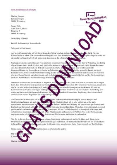 Bewerbungsschreiben Kosmetikerin Muster Vorlagen