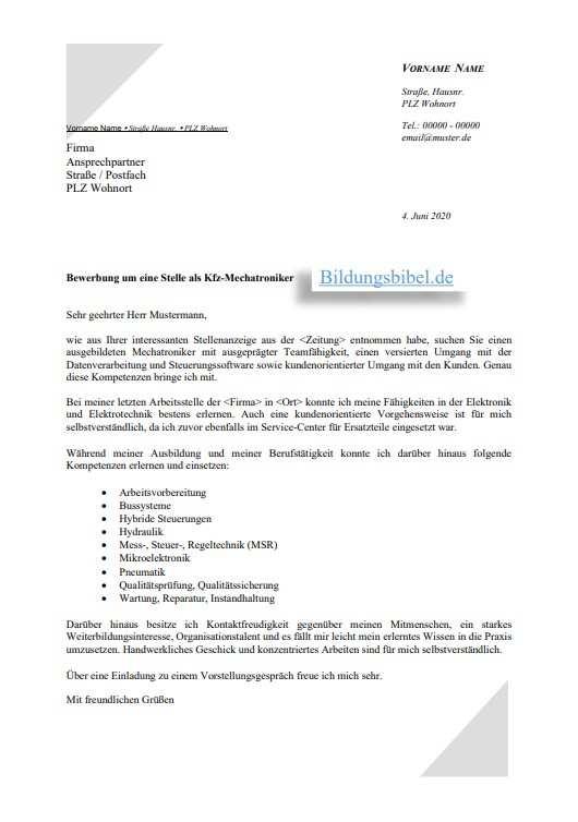 Bewerbung Kfz Mechatroniker Bewerbungsschreiben Muster Downloaden