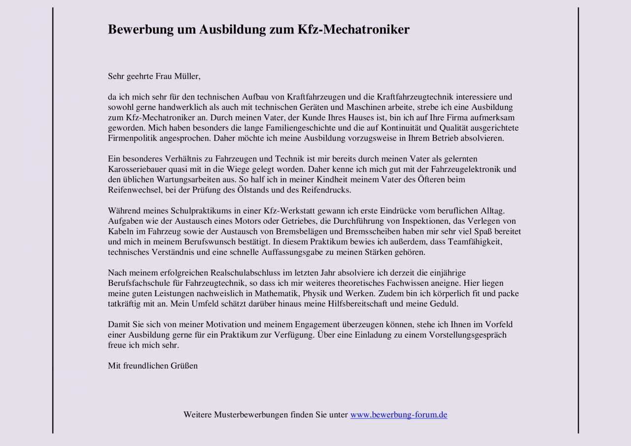 Kfz Mechatroniker Bewerbung Um Ausbildung Muster Und Tipps