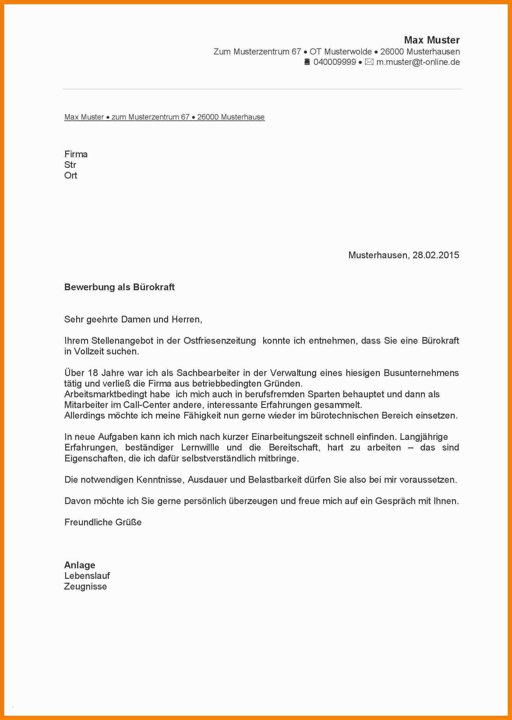 Frisch Bewerbungsvorlage Pdf Briefprobe Briefformat