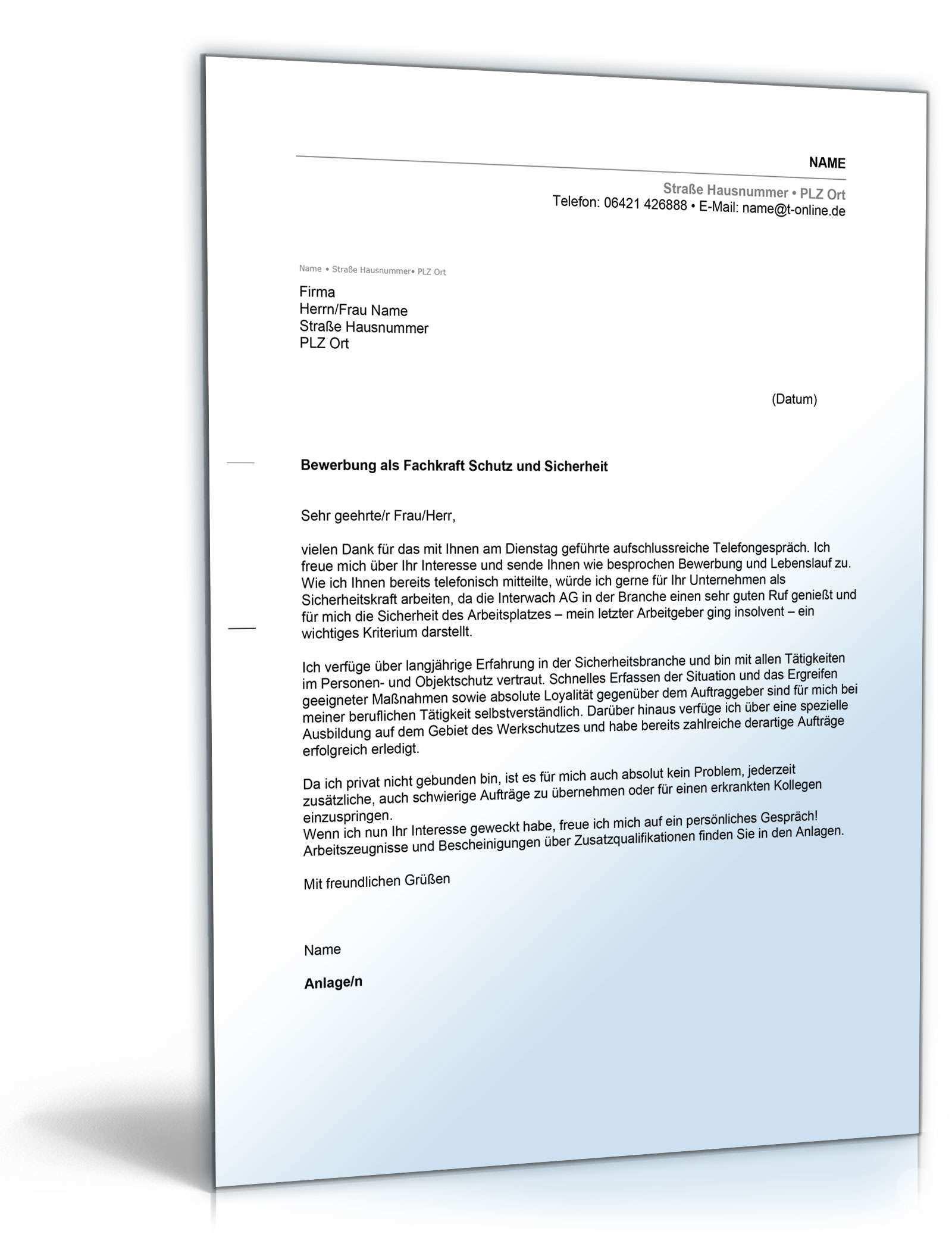 Anschreiben Bewerbung Sicherheitsdienst Muster Zum Download