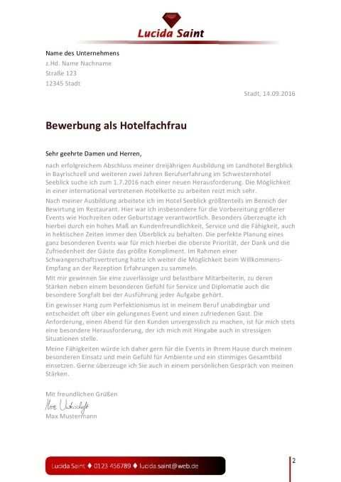 Bewerbungsvorlage Hotelfachfrau Mann Bewerbung