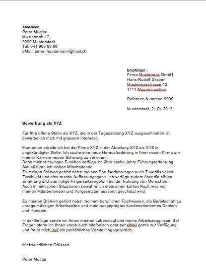 Initiativbewerbung Muster Vorlage Schweiz Motivationsschreiben