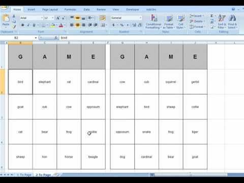 Bingo Card Generator Microsoft Excel Youtube