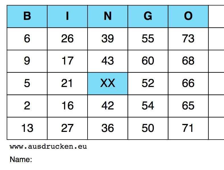 Bingo Vorlagen Bingo Karten Ausdrucken Von Vorlagen Bingo