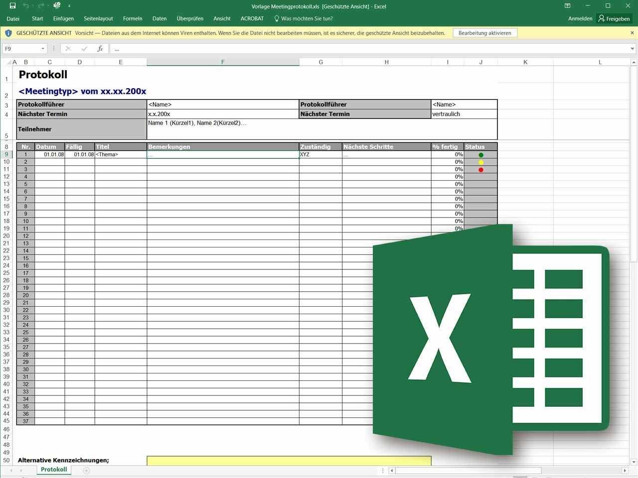 Besprechungsprotokoll Als Excel Vorlage Excel Vorlage Vorlagen