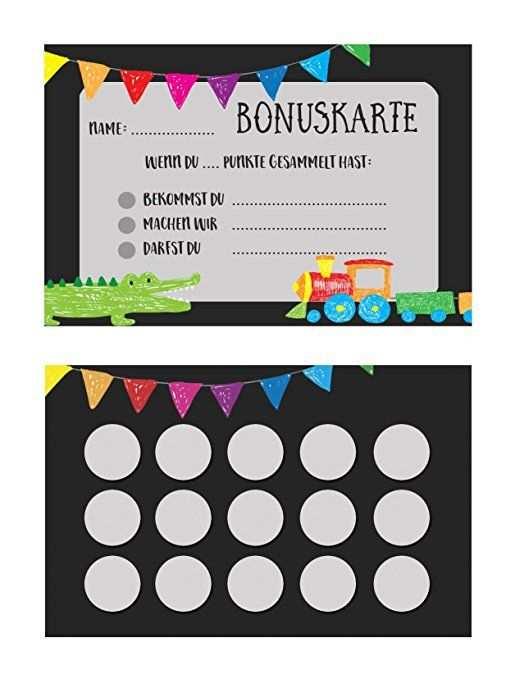 Bonuskarte Kinder 5 Stuck Belohnungskarte Stempelkarte Kinder