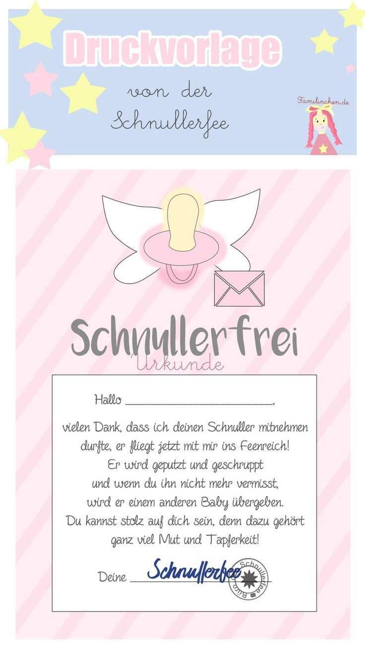 Schnullerfee Brief Vorlage Zum Ausdrucken Ausdrucken Portfolio