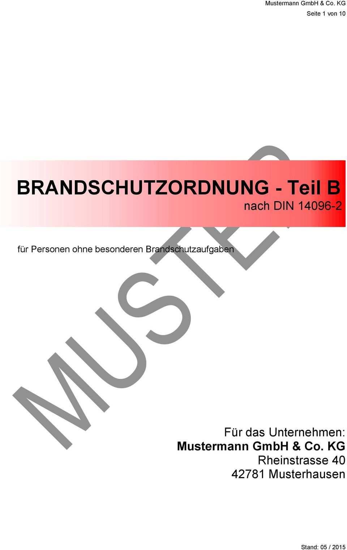 Brandschutzordnung Teil B Nach Din Pdf Kostenfreier Download