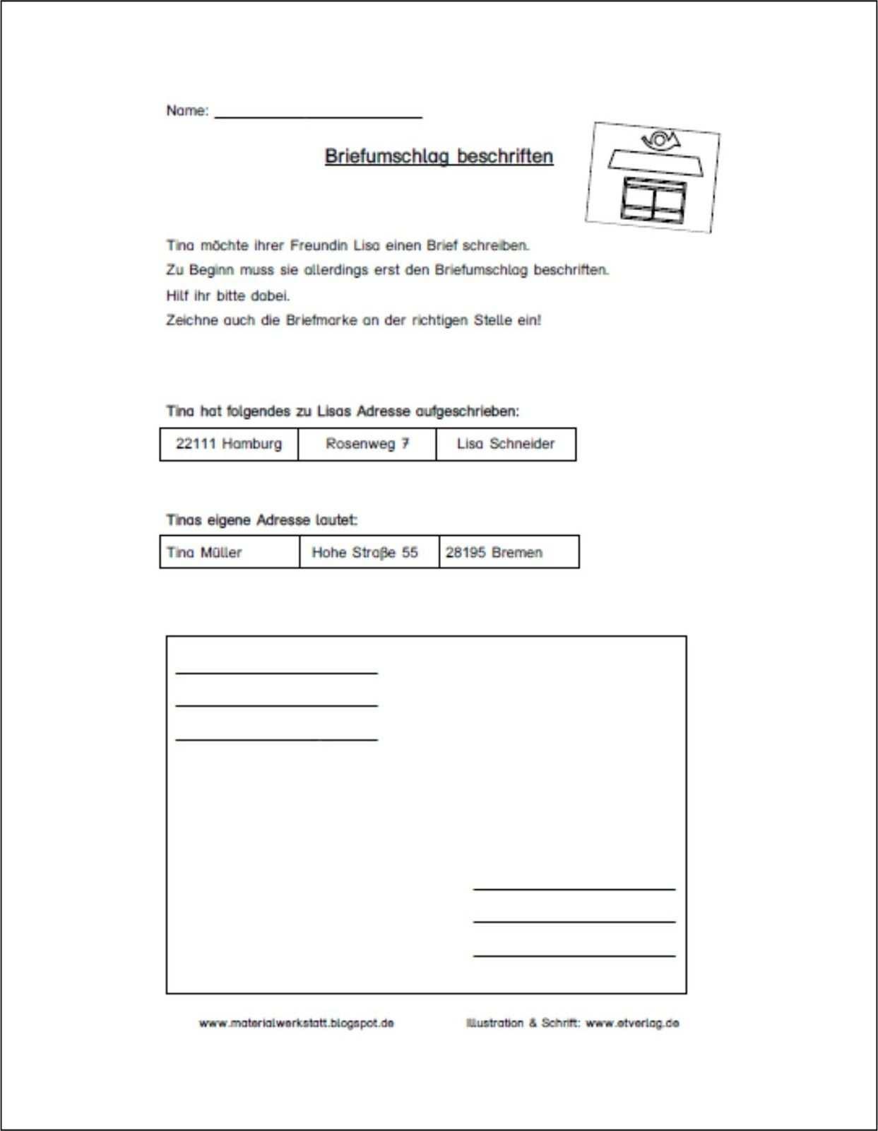 Arbeitsblatter Zum Thema Brief Brief Schreiben Grundschule