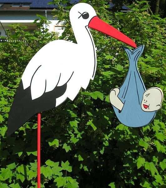 80 Cm Gesamtgrosse Storch Adebar Mit Blauem Babybundel Auch