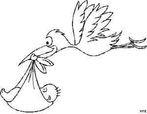 Baby Mit Storch Ausmalbild Malvorlage Fruhling Ausmalbilder