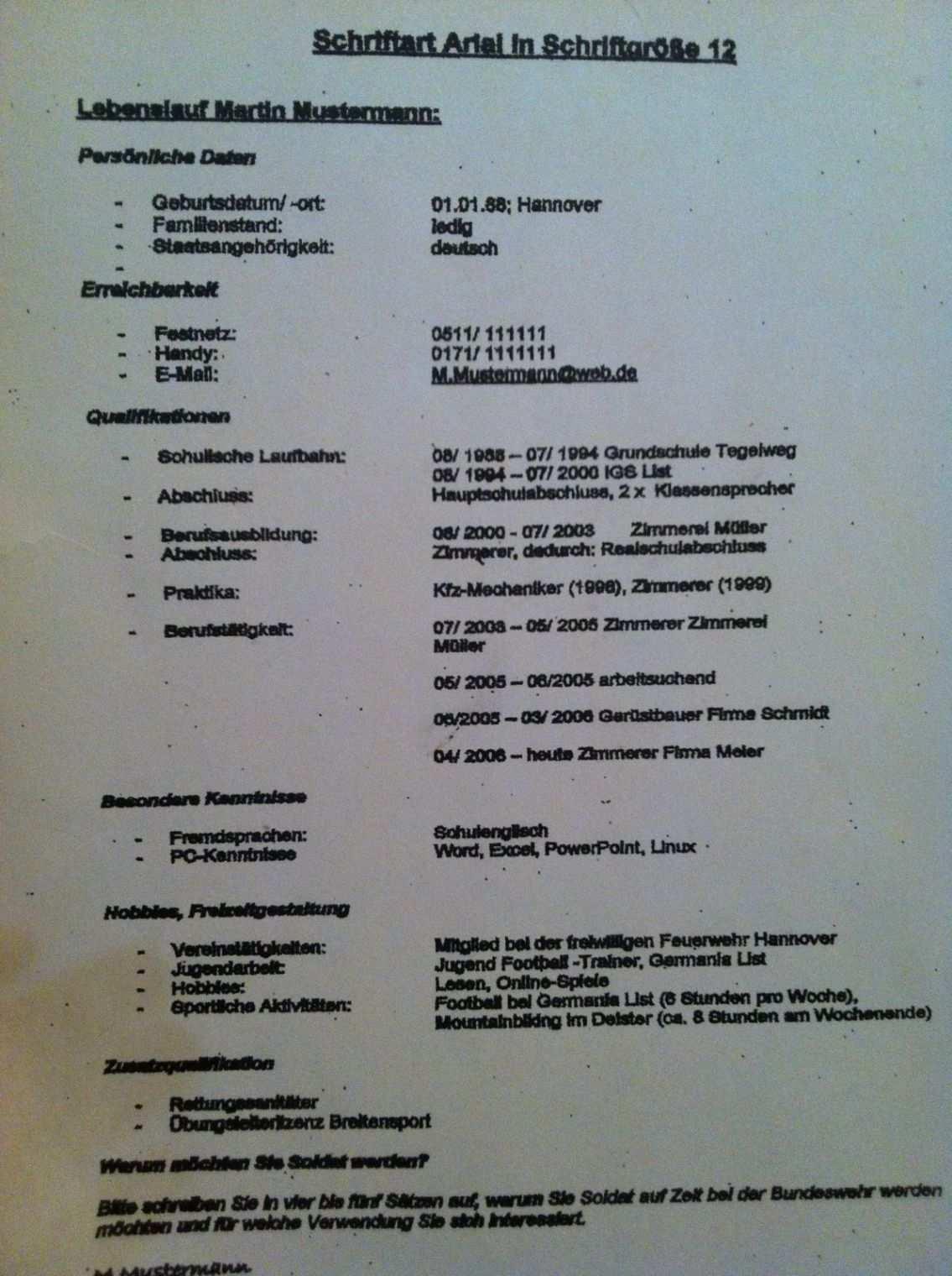 Eine Probe Von Bundeswehrforumde Bewerbung Lebenslauf Nach Muster Muster Vorlage Lebenslauf Bundeswehr In 2020 Vorlagen Lebenslauf Lebenslauf Bewerbung Lebenslauf