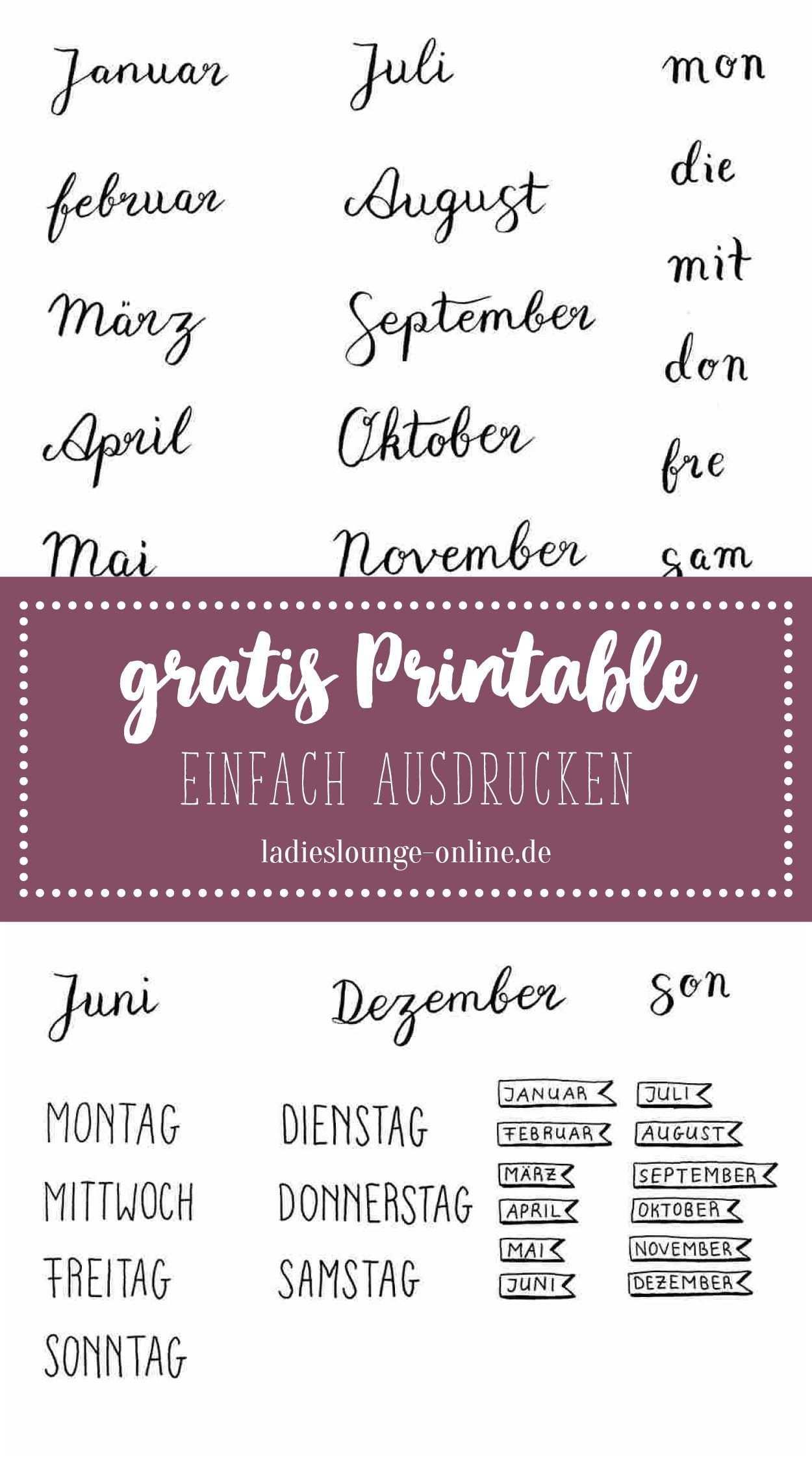 Free Printable Gratis Handmade Vorlage Fur Monate Und