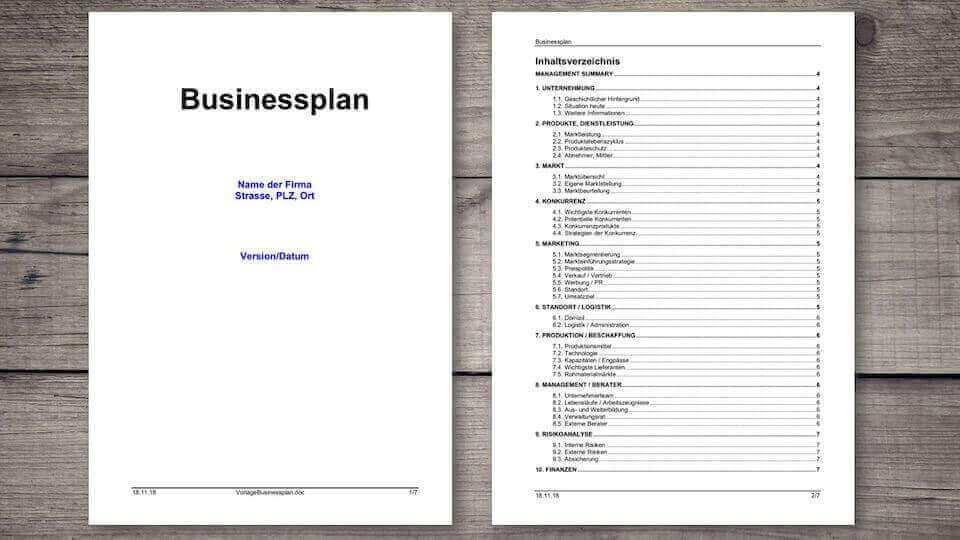 Businessplan Vorlage Schweiz Kostenlos Muster Vorlage Ch