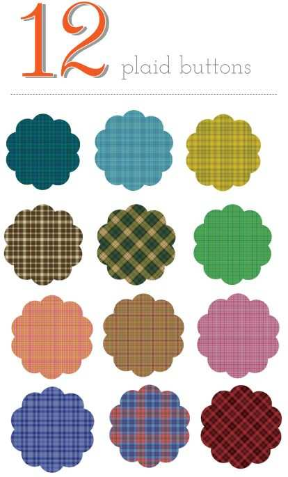 Plaid Buttons Papier Vorlagen