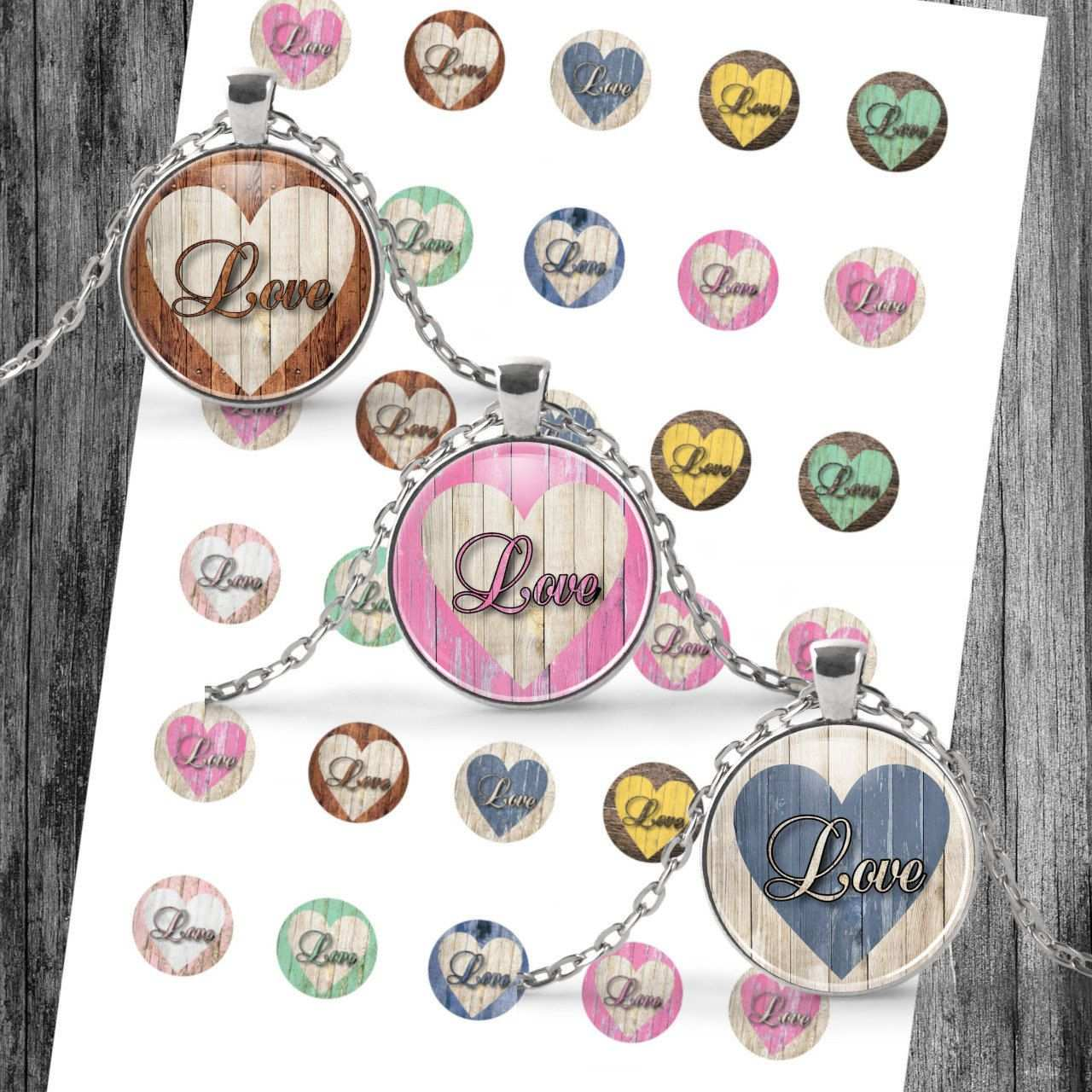 Cabochon Templates Digital Download Template Vintage Love Wood
