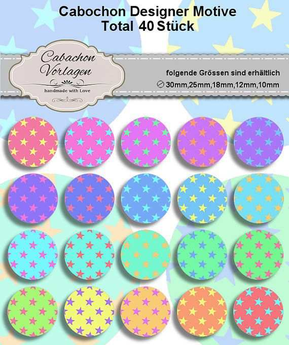 Printable Digital Collage Sheet Circles Cabochon Earring Mit