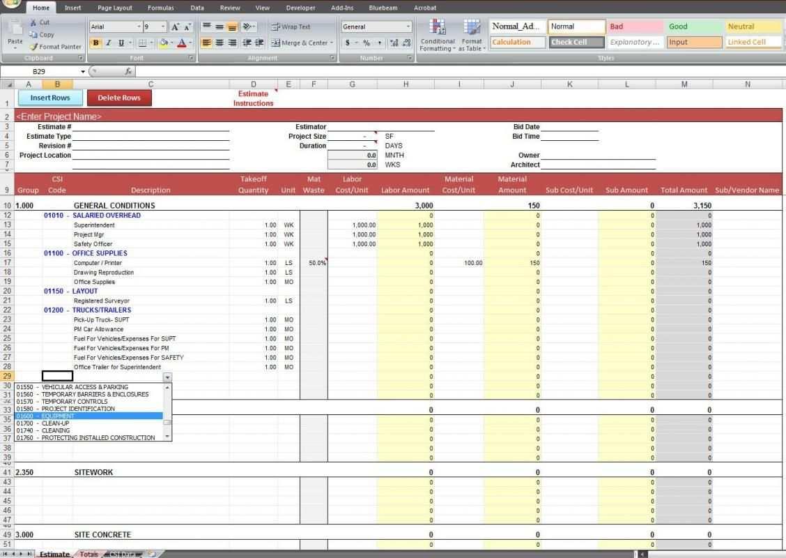 General Contractor Estimating Spreadsheet