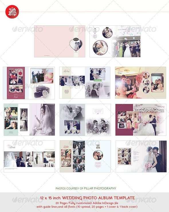 20 Pages Photo Album Template 12x15 For Indesign Wedding Album