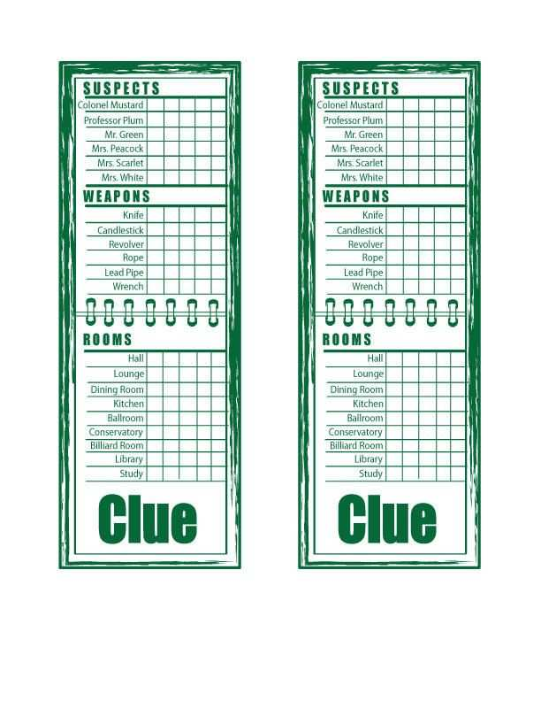 Clue Sheets By Rukia700 Clue Games Clue Board Game Clue Party
